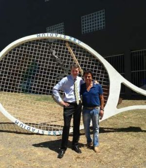 Brisbane Lord Mayor Graham Quirk hits up Stefan for the giant tennis racket that once featured at the old Milton Tennis ...