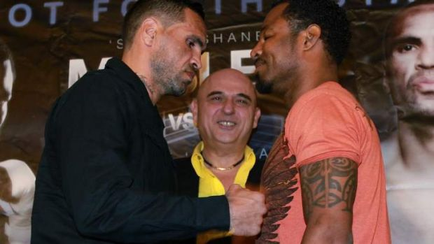 Anthony Mundine and Shane Mosley in Sydney before the original scheduled fight.