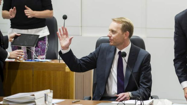 Simon Corbell acknowledges a standing ovation from the public gallery after introducing the Marriage Equality Bill in ...