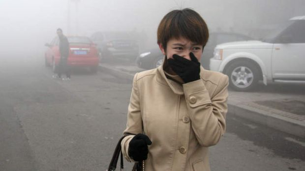 A woman walks along a road as heavy smog engulfs the city of Harbin, in northeast China.