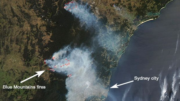 The latest NASA satellite image of fires and smoke over Sydney.