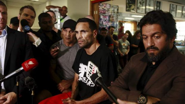 Anthony Mundine speaks during a press conference at Mundine Gym in Redfern after the last-minute withdrawal of his ...