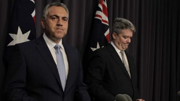 Treasurer Joe Hockey with Finance Minister Mathias Cormann in Canberra.