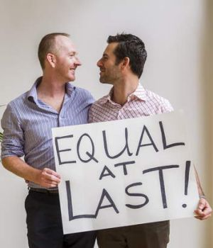 Celebrating marriage equality: Nathan Thomas and Maikol Nobrega after the bill was passed.