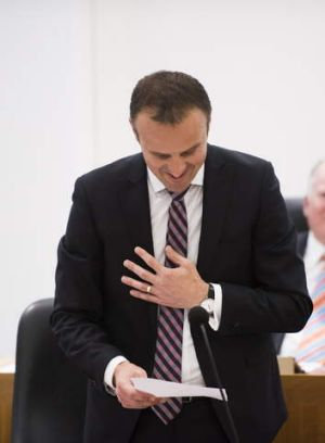 Overcome with emotion: Deputy Chief Minister Andrew Barr.