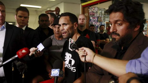 Sugar free: Anthony Mundine talks to the media on Tuesday.