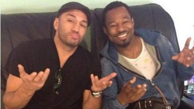 Shane Mosley poses for an Instagram selfie with sparring partner Sergio Mora at Sydney airport.