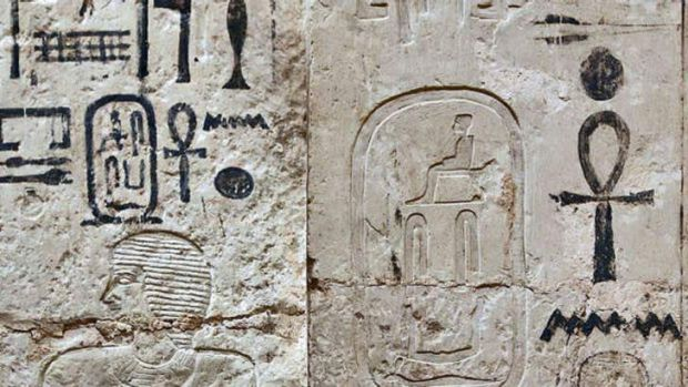 Egyptian hieroglyphics on the entrance of a 4000 year old tomb that was discovered by archaeologists in Abusir on the ...