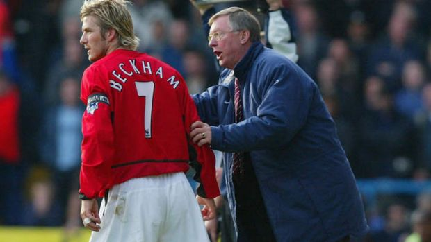 """Chose to be famous."": David Beckham in action for United."