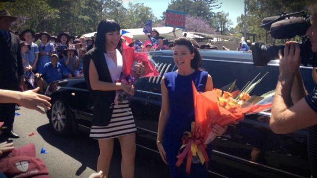 X-Factor grand finalist Dami Im arrives with Dannii Minogue.