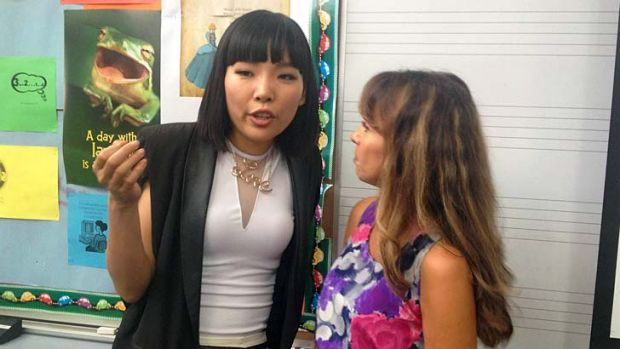 X Factor star Dami Im with one of her former John Paul College teachers, Helena Freisberg.