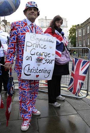 Royal fans wait outside St James's Palace before the christening of Prince George.