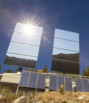 Computer-controlled: Three giant mirrors reflect sunshine towards the centre of the town.