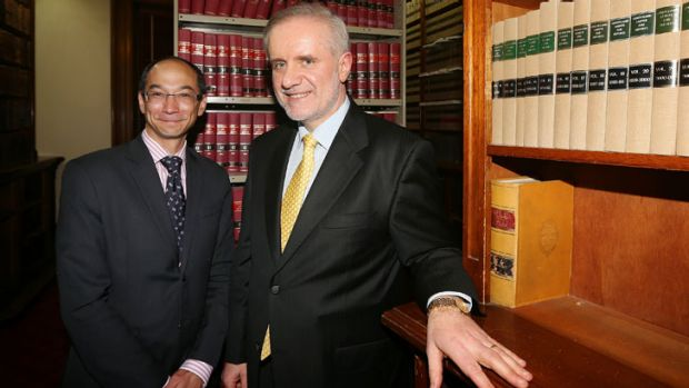 Law Institute president Reynah Tang and Justice Emilios Kyrou.