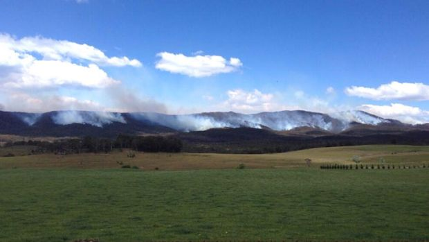 Fire ground in the Budawang National Park near where the RFS aircraft has gone down.