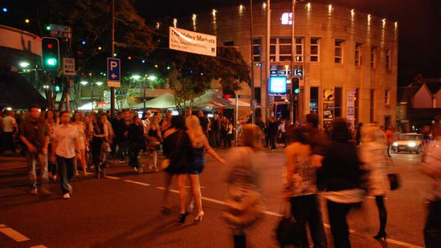 Crowds in Fortitude Valley's nightclub and bar precinct.
