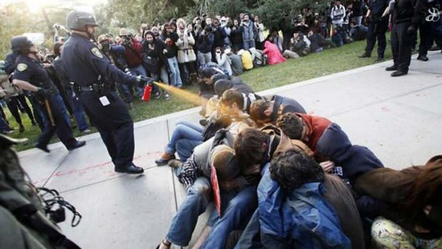 University of California, Davis Police Lt. John Pike, who used pepper spray on Occupy UC Davis protesters in November ...