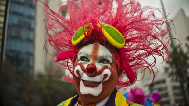 A clown participates in the Latin American Clown Convention in Mexico City.