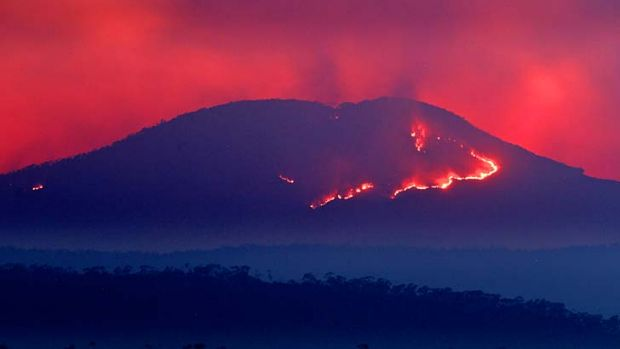 Ash either way: Fire raging on Mount Banks in the Blue Mountains on Thursday resembles a lava flow.