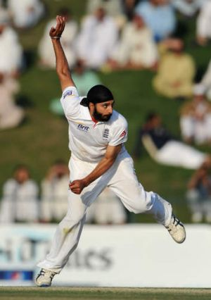 Monty Panesar in full flow.
