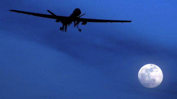 An unmanned US Predator drone flies over Kandahar Air Field in southern Afghanistan in 2010.