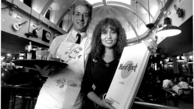 Too much debt: Waiter David Wilson and hostess June Dries serve customers at the cafe in 1989.