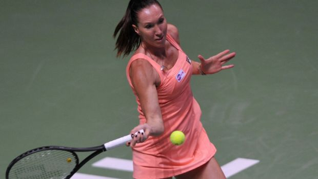 Out-classed: Jelena Jankovic on court in Istanbul against Serena Williams.