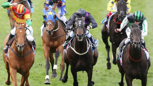 Chad Schofield rides Shamus Award to the Cox Plate.