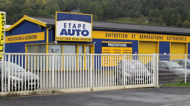 The garage in Terrasson, central France, where a child was found by mechanics in the truck of a car three days before.