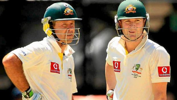 Happier days: Clarke (R) and Ponting during a 386-run partnership against India in 2012.