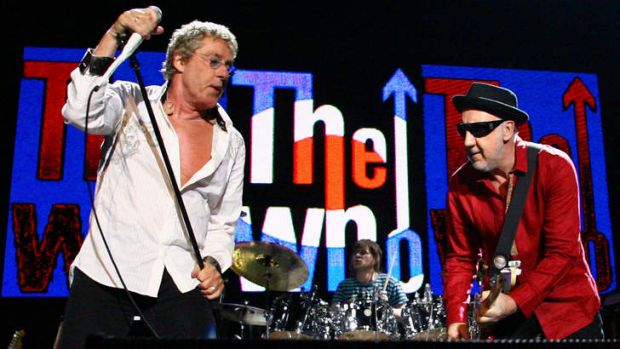 Roger Daltrey, left, and Pete Townshend of The Who performing on stage at the Brisbane Entertainment Centre in 2009.