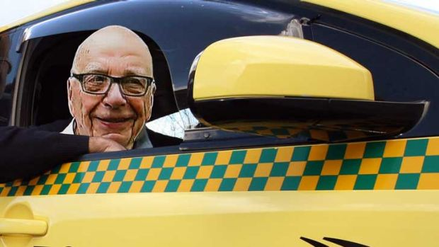 Would you listen to Rupert Murdoch if he was driving your taxi?  <i>Digitally altered image</i>