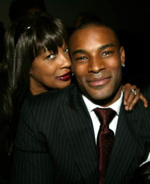 Tyson Beckford and with his mother Hilary in New York, 2005.