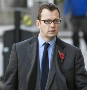 Former News of the World editor Andy Coulson arrives at the Old Bailey courthouse for the phone hacking trial.