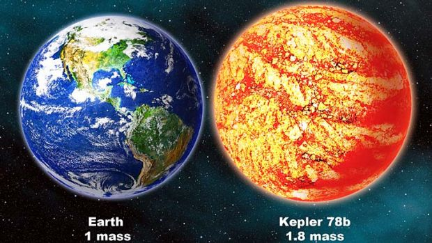An artist's impression of Earth, left, and Kepler-78b.