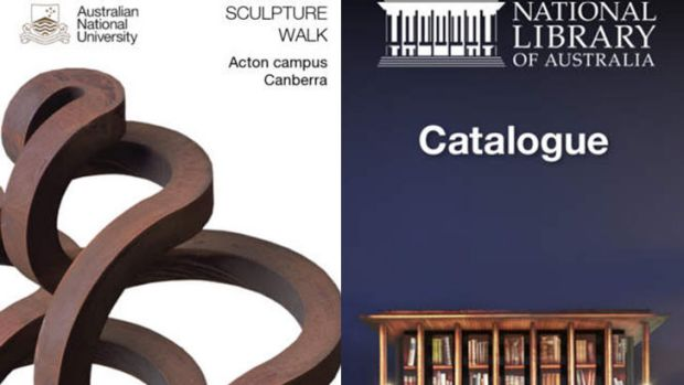 A screengrab of the ANU Sculpture Walk app, and the National Library of Australia app.