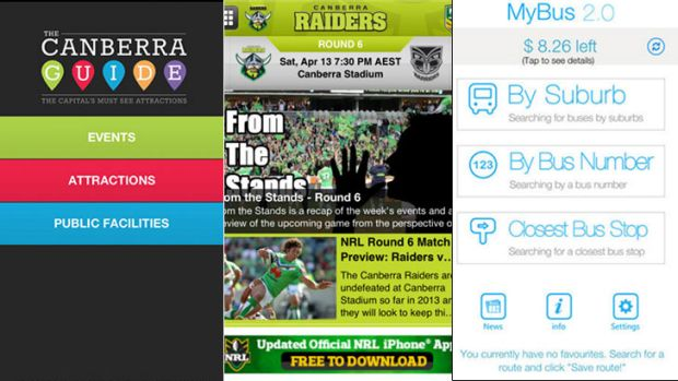 A screengrab of The Canberra Guide, Canberra Raiders and My Bus 2.0 app.