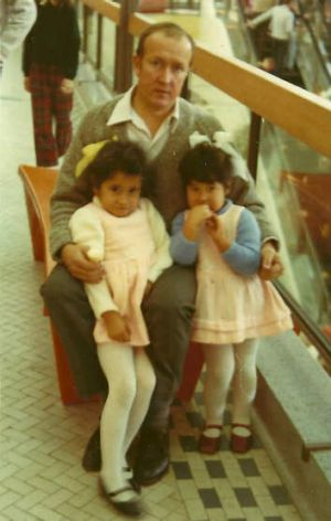 Vika and her sister Linda with her dad, Aussie, at Doncaster Shoppingtown in the 1970s.