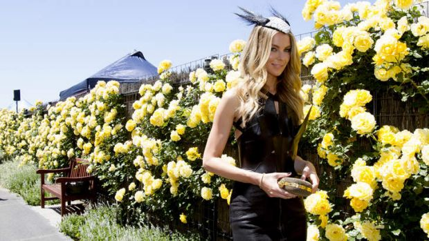 Model Jennifer Hawkins at the Myer marquee at the races.