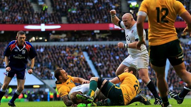 Chris Robshaw of England crashes ove to trigger England's fightback.