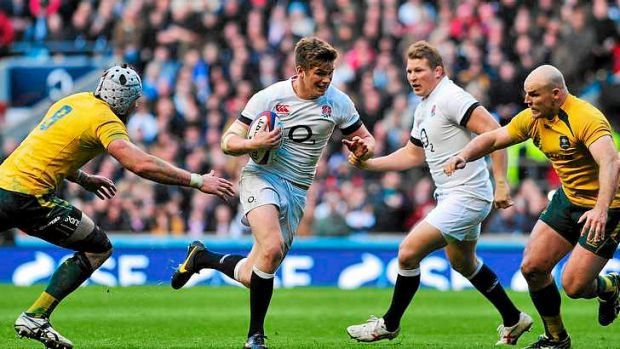 Controversial call: Owen Farrell runs through a gap after Stephen Moore (R) had been partially obstructed by Dylan Hartley.