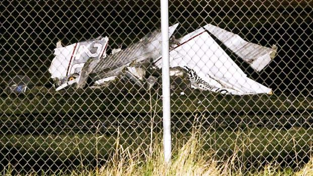The wreckage of the fuselage of a Cessna 182 aircraft owned by Skydive Superio.