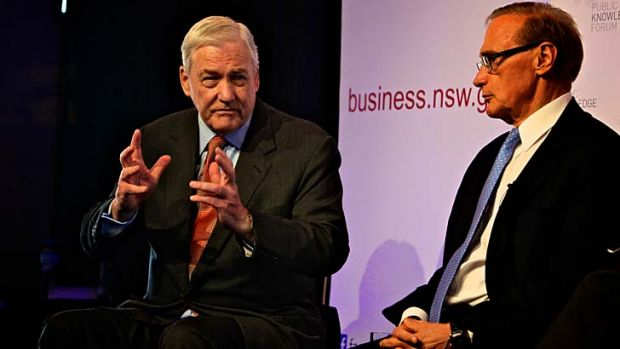 An unlikely pairing: Conrad Black, left, and Bob Carr share the stage and discuss a range of issues at the Opera House's ...