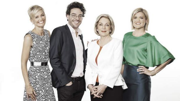 The Studio 10 panel: From left, Jessica Rowe, Joe Hildebrand, Ita Buttrose and Sarah Harris.