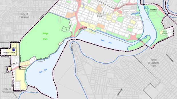 The City of Perth's southern boundary under the proposed changes.