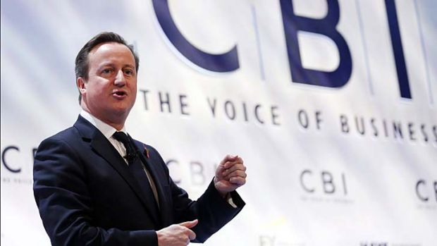 """""""The CBI have hugely helped this morning with a very positive report"""": Britain's Prime Minister David Cameron."""