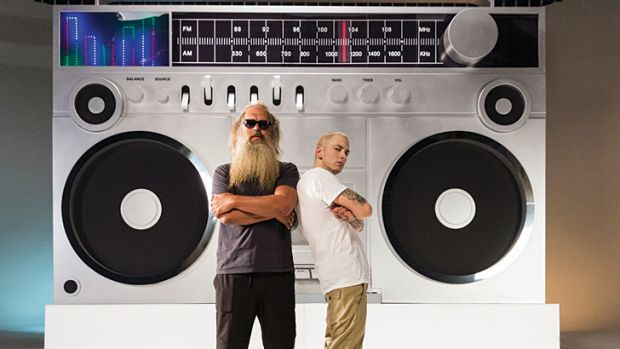 Eminem acknowledges his debt to early Beastie Boys, with the help of executive producer Rick Rubin (left), who produced ...