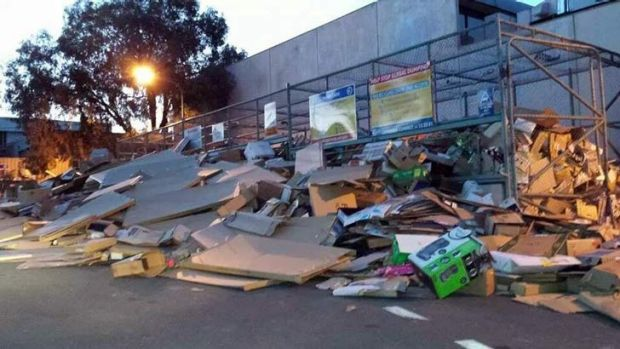 Cardboard spread outside the Belconnen Recycling Centre.