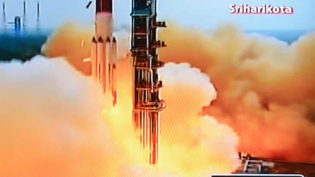 Long way to go: A television grab from Indian channel NDTV of the PSLV-C25 launch vehicle carrying the Mars Orbiter ...