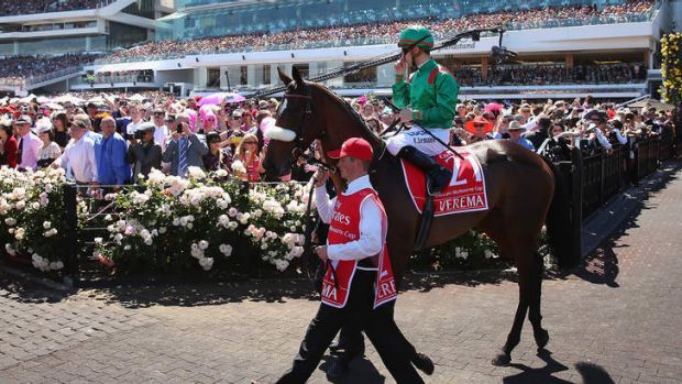 Christophe Lemaire riding Verema walks out for the start of race 7 the Melbourne Cup.